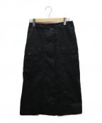 MHL(エムエイチエル)の古着「コットンリネンロングフロントスカート」|ブラック