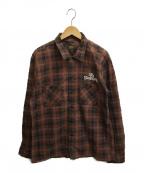 TENDERLOIN(テンダーロイン)の古着「L/Sチェックシャツ」|ブラウン
