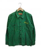 TENDERLOIN(テンダーロイン)の古着「チェーンステッチチェックシャツ」|グリーン
