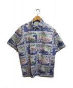 ()の古着「90'sオールドカープリントアロハシャツ」|ブルー