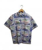 reyn spooner(レイン スプナー)の古着「90'sオールドカープリントアロハシャツ」 ブルー