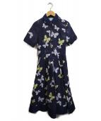 ()の古着「バタフライプリントドレス」 ネイビー