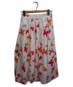 ()の古着「バタフライプリントスカート」 ホワイト×オレンジ