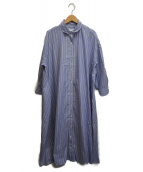 ()の古着「ストライプシャツワンピース」 ブルー
