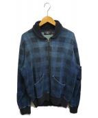 ()の古着「インディゴチェックショールスウェットジャケット」|ネイビー