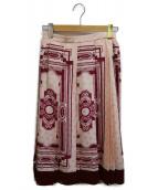 ()の古着「アールデコプリントスカート」 ピンク×ベージュ