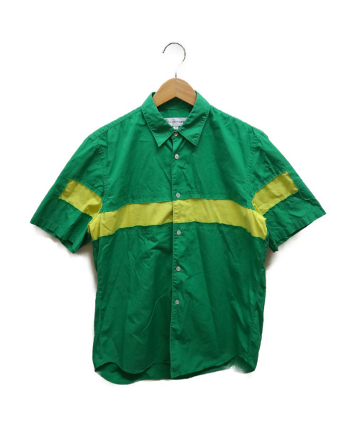 COMME des GARCONS SHIRT(コムデギャルソンシャツ)COMME des GARCONS SHIRT (コムデギャルソンシャツ) バイカラー切替S/Sシャツ グリーン サイズ:Sの古着・服飾アイテム