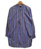 ETRO(エトロ)の古着「バンドカラーストライプシャツ」|ブルー