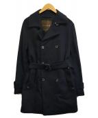 ()の古着「メルトンダブルコート」 ブラック
