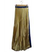 ()の古着「オリガミプリーツスカート」 ブルー×ゴールド