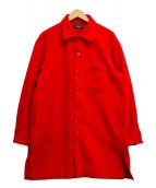 ()の古着「ソリッドカラーウールロングシャツ」 レッド