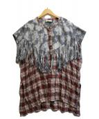 ()の古着「フリンジチェックプルオーバーシャツ」 ブラウン