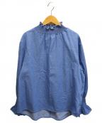 SEVEN TEN by MIHO KAWAHITO(セブン テン バイ ミホ カワヒト)の古着「ハイネックブラウス」|ブルー