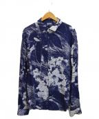 ARMANI JEANS(アルマーニジーンズ)の古着「総柄シアーシャツ」|ネイビー