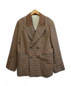 Lois CRAYON(ロイスクレヨン)の古着「襟切替ピークドラペルダブルジャケット」|ブラウン
