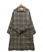 ETONNE(エトネ)の古着「タータンチェックオーバーサイズコート」|ブラウン