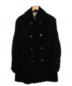 BURBERRY BLACK LABEL(バーバリーブラックレーベル)の古着「ベロアダブルコート」 ブラック