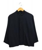 ()の古着「90'sウールギャバマオカラージャケット」 ブラック