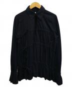 MM6 Maison Margiela(エムエムシックス メゾン マルジェラ)の古着「襟付きデザインカットソー」|ブラック