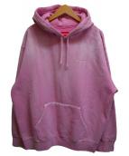 ()の古着「Brush stroke hooded sweatshirt」 ピンク