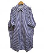 MARQUES/ALMEIDA(マルケスアルメイダ)の古着「ストライプシャツワンピース」 ブルー×ホワイト