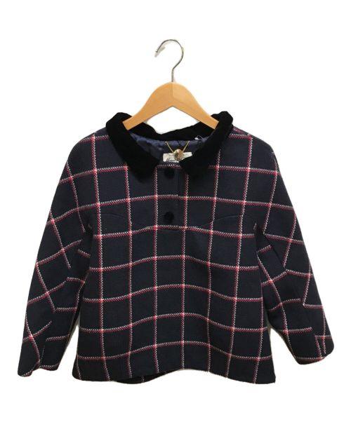 MUVEIL(ミュベール)MUVEIL (ミュベール) 起毛チェックブラウス ネイビー サイズ:Sの古着・服飾アイテム