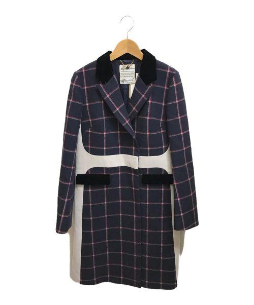 MUVEIL(ミュベール)MUVEIL (ミュベール) チェックチェスターコート ネイビー サイズ:Lの古着・服飾アイテム
