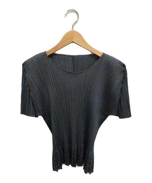 PLEATS PLEASE(プリーツプリーズ)PLEATS PLEASE (プリーツプリーズ) カットワークプリーツブラウス グレー サイズ:3の古着・服飾アイテム