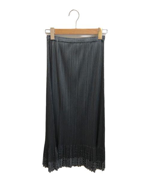 PLEATS PLEASE(プリーツプリーズ)PLEATS PLEASE (プリーツプリーズ) カットワークプリーツロングスカート グレー サイズ:4の古着・服飾アイテム