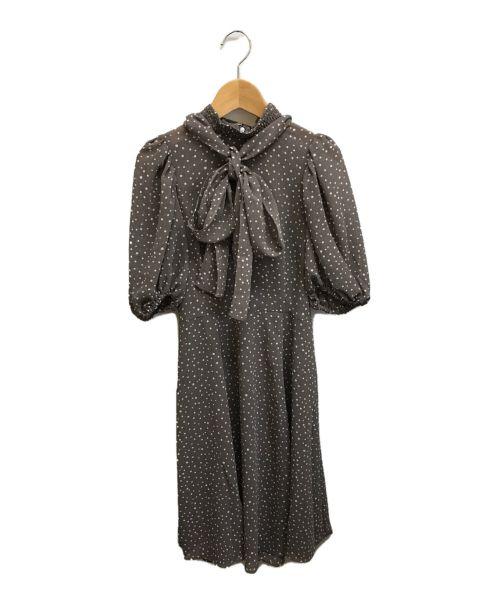 Snidel(スナイデル)Snidel (スナイデル) ボウタイプリントワンピース モカ サイズ:FREEの古着・服飾アイテム