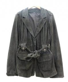 HUGO BOSS(ヒューゴボス)の古着「レザーベルテッドコート」 オリーブ
