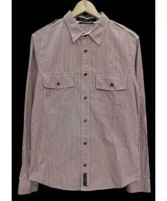 STONE ISLAND(ストーンアイランド)の古着「ストライプシャツ」 ホワイト×レッド