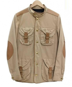 DRAWER(ドゥロワー)の古着「ラムレザーパイピングスタンドカラージャケット」|ベージュ