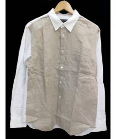 COMME des GARCONS HommePlus(コムデギャルソンオムプリュス)の古着「異素材切替長袖シャツ」|ホワイト×ベージュ