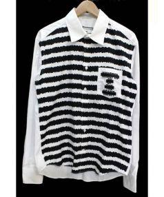 ANREALAGE(アンリアレイジ)の古着「フロント切替長袖シャツ」|ホワイト×ブラック