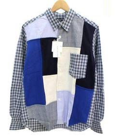 COMME des GARCONS HommePlus(コムデギャルソンオムプリュス)の古着「ウール切替パッチワーク長袖シャツ」|ネイビー