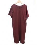 ROPE(ロペ)の古着「袖フレアポンチワンピース」|ボルドー