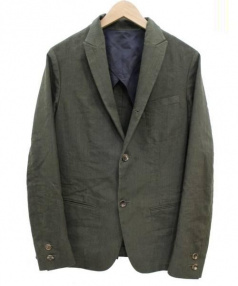 BLUE WORK(ブルーワーク)の古着「リネン混ジャケット」|オリーブ