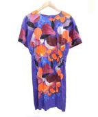 marimekko(マリメッコ)の古着「プリント半袖ブラウスワンピース」|ブルー×レッド