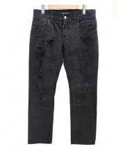 DOLCE & GABBANA(ドルチェ&ガッバーナ)の古着「ダメージ加工デニムパンツ」|ブラック