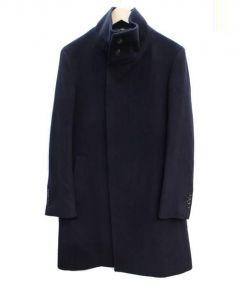 ARTISAN(アルチザン)の古着「カシミヤ混スタンドカラーコート」|ネイビー