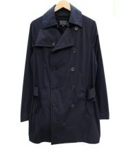 BLUE WORK(ブルーワーク)の古着「ストレッチポプリントレンチコート」|ネイビー