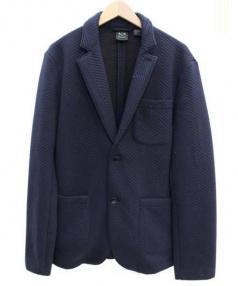ARMANI EXCHANGE(アルマーニエクスチェンジ)の古着「スウェットテーラードジャケット」|ネイビー