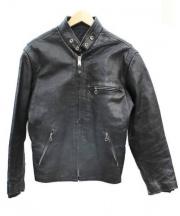 cuirslondon(キュイーロンドン)の古着「シングルライダースジャケット」|ブラック