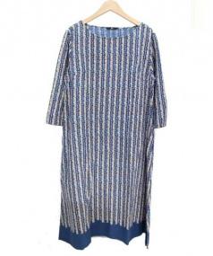 45R(フォーティファイブ・アール)の古着「インディゴ染めフラワープリントワンピース」|ネイビー