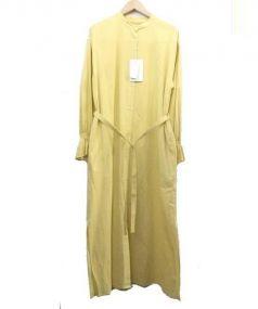 MACPHEE(マカフィー)の古着「コットンギャザー長袖ブラウスワンピース」|イエロー