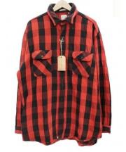 orSlow(オアスロウ)の古着「ヘビーフランネルシャツ」|レッド×ブラック