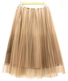ROSSO(ロッソ)の古着「チュールプリーツスカート」 ブラウン