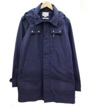 S/DOUBLE(エスダブル)の古着「フード付ステンカラーコート」|ネイビー