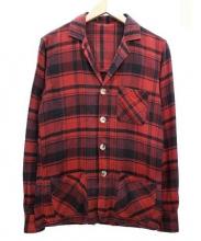 Bevilacqua(ベヴィラクア)の古着「4Bチェックジャケット」|レッド×ブラック